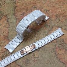 Estilo de la marca blanca de cerámica curved end 18 mm ladys 22 mm hombres pulsera for un R1473 relojes rosegold hebilla nunca se desvanecen