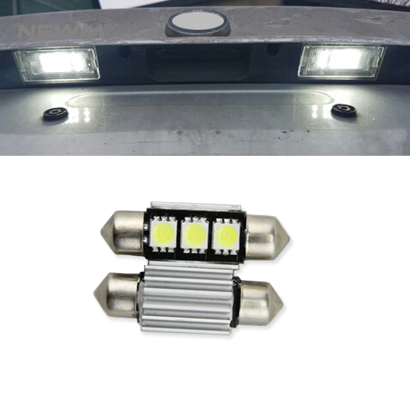 2pcs <font><b>LED</b></font> 36mm White CANbus C5W Bulbs 5050SMD <font><b>Interior</b></font> Lights License Plate Light For <font><b>BMW</b></font> E39 E36 E46 E90 <font><b>E60</b></font> E30 E53 E70 image