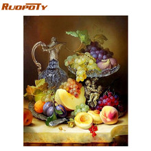 RUOPOTY Frame Fruits DIY Painting By Numbers Modern Wall Art Picture Paint By Number For Home Wall Decor Calligraphy Painting(China)