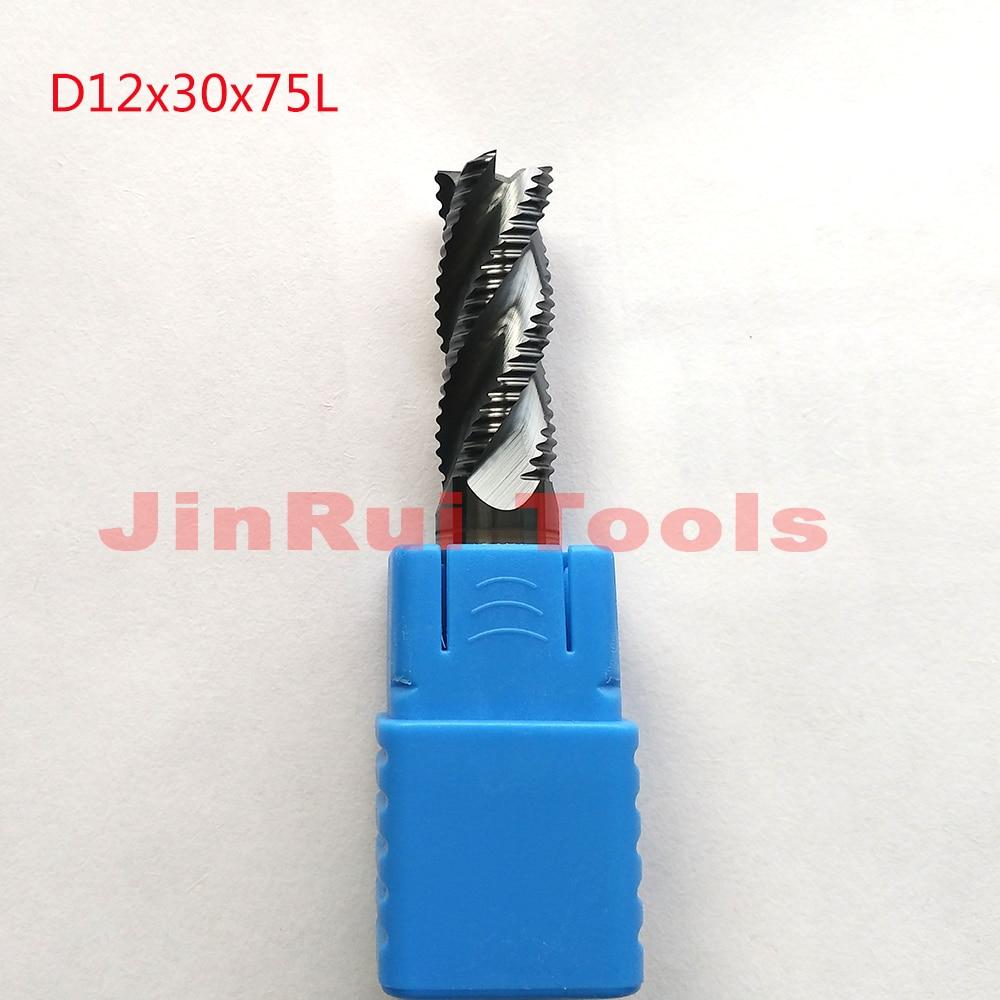 1pc 12mm D12*30*D12*75 HRC55 4 Flutes Solide Carbide Roughing End Mills CNC router bit milling cutter Tools knife fresa