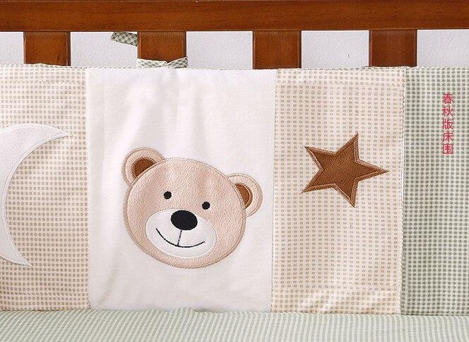 7PCS embroidery Baby Bumper Set Baby cradle crib cot bedding set bed linen ,include(bumper+duvet+sheet+pillow)