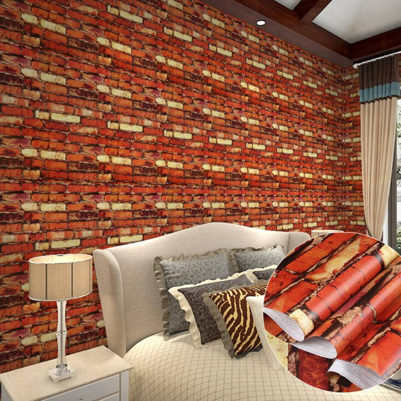 Wood fiber wallpaper modern 3d brick stone style wallpaper bedroom living mural roll wall background a 2017 new wall sticker in wall stickers from home