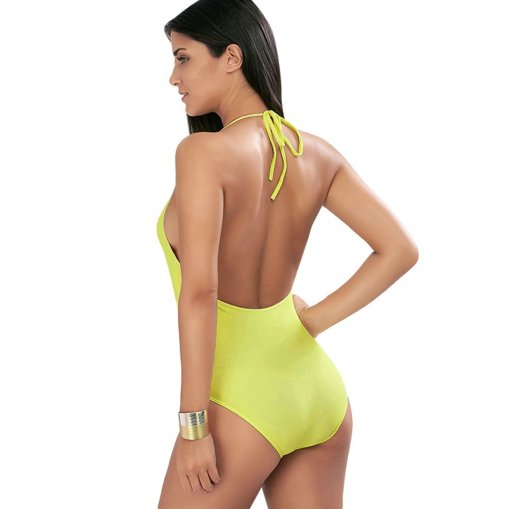 fa1e05ad1d Купить Оптом ZAFUL 2017 Halter Pineapple Plunge Swimsuit Sexy Unique ...