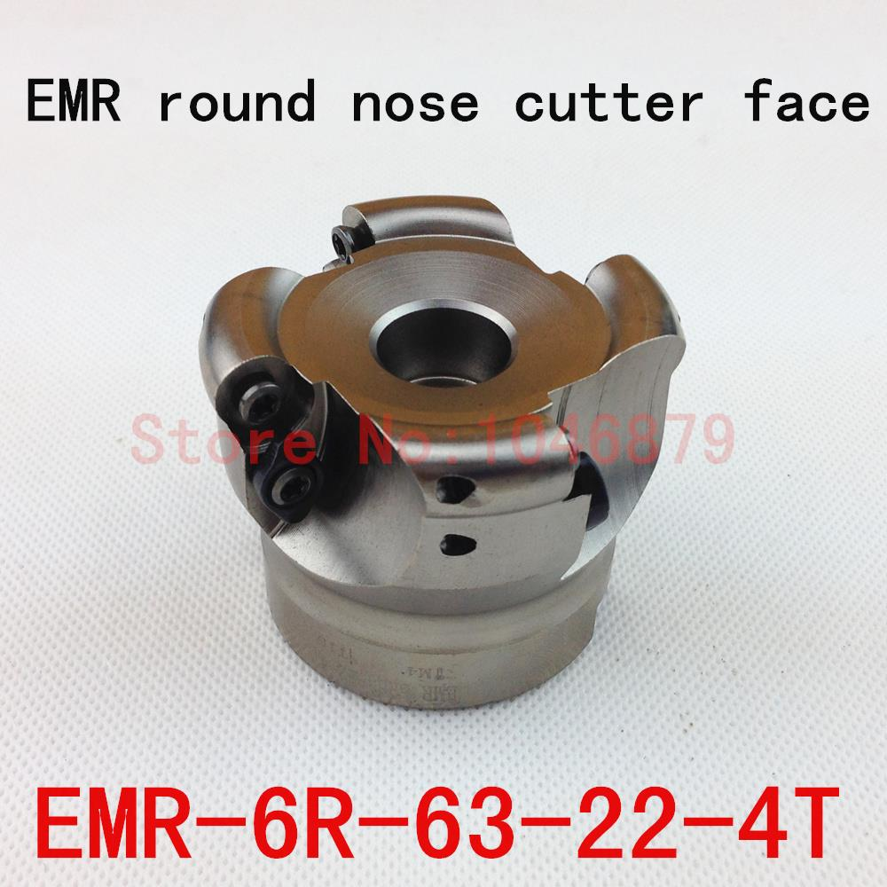 EMR round nose surface nc milling cutter, cnc milling cutter.EMR-6R-63-22-4T free shiping emr 6r 63 22 4t face milling cutter head for rpmt w1204