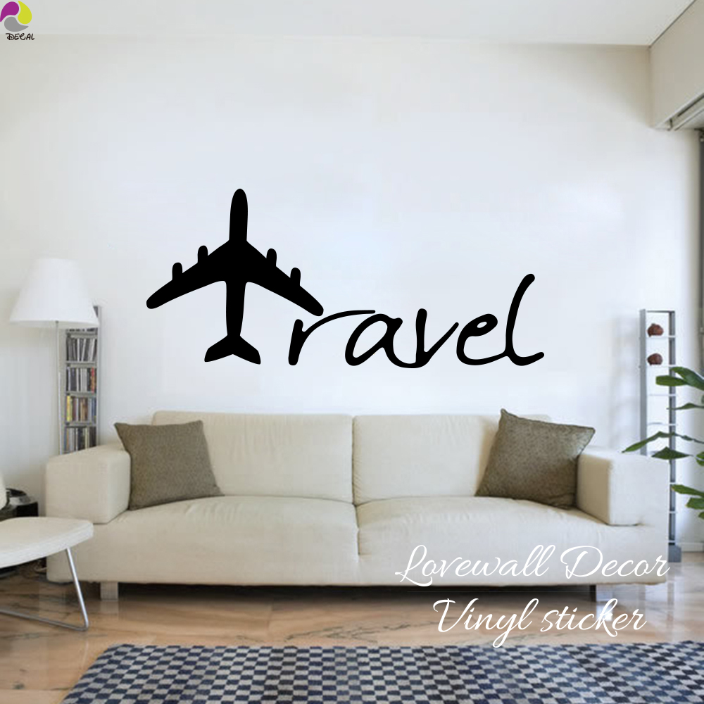 US $7.1 10% OFF|Cartoon Aircraft Travel lettering Wall Sticker Baby Nursery  Kids Room Airplane Travel Wall Decal Bedroom Living Room Vinyl Decor-in ...