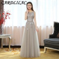 Gardlilac Tulle Applique Beading GreyLong Bridesmaid Dress Floor Length Sleeveless Wedding Party Dress