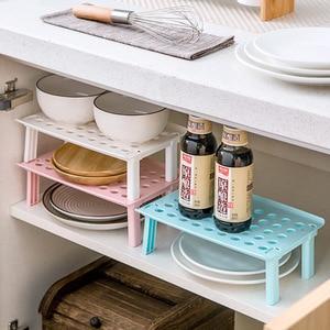 Image 2 - Стеллаж для микроволновой печи складной кухонный Органайзер шкаф полка для хранения стойка для холодильника дом держатель посуды пластиковая стойка