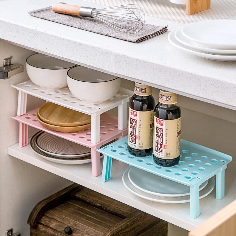 Image 2 - Microwave oven rack Foldable Kitchen Organizer Cupboard Storage Shelf Refrigerator Rack House Dish Holders Plastic  Rack-in Racks & Holders from Home & Garden