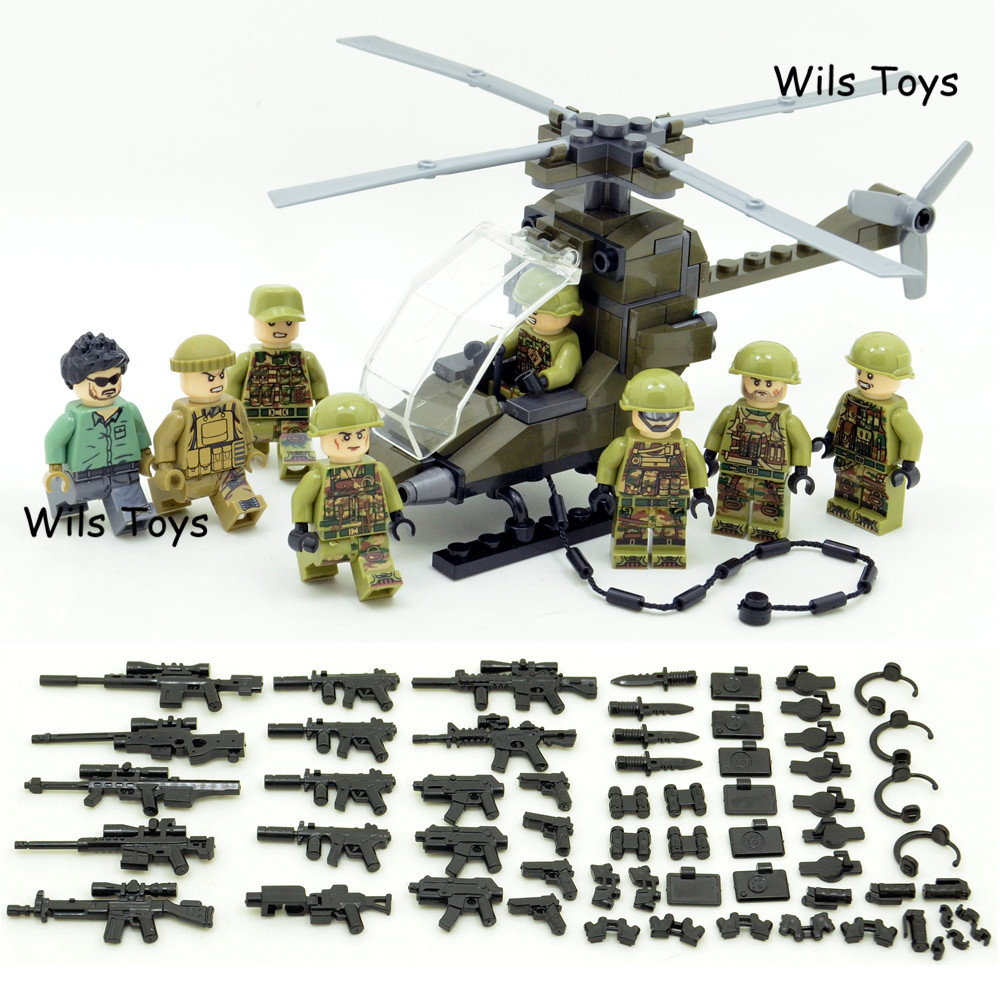 8pcs Special Forces MILITARY Soldier Army WW2 Helicopter SWAT Team Building Blocks Bricks Figures Educational Toys Boys children 6pcs swat special forces police the wraith assault cs with motorcycles weapons figures building blocks bricks toys for kids