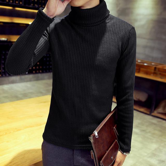 2016 Moda Estilo Homens Pulôver de Gola Alta Blusas Roupas de Marca Camisola Cor Sólida Para Os Homens Polo Camisola Puxar Homme