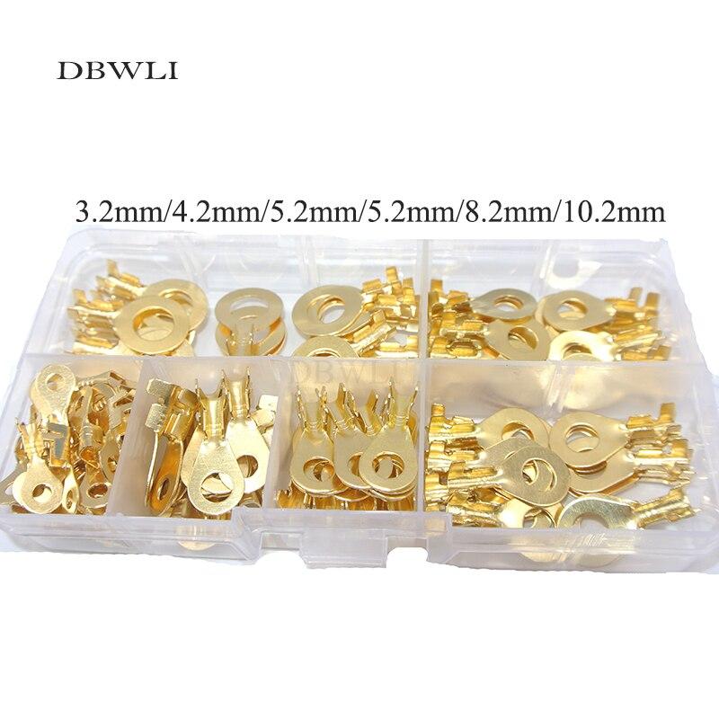 150 Uds anillo Lugs Ring Eyes cobre Crimp Cable conector M3/M4/M5/M6/M8/M10 Kit surtido para Cable eléctrico auto/coche