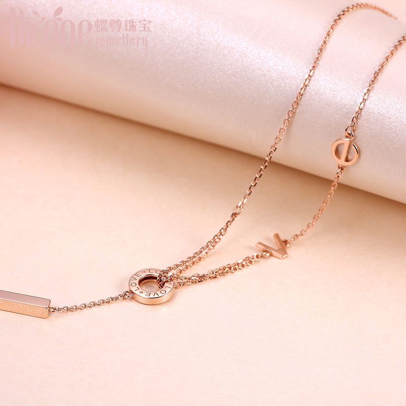 18K Gold Necklace Circular Transfer Pearl Love Rose Golden Letter Au750 Women
