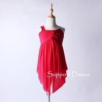 בנות נשים נצנצים שיפון dress עם מבוגרים ילדים חצאית סדירה אדום מודרני ריקוד לטיני תלבושות c132