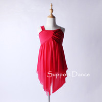 Girls Women Sequin Chiffon Latin Dress With Irregular Skirt Kids Adult Red Modern Dance Costume C132