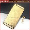 24KT Chapado En ORO Cristal de Diamante Edición Limitada Medio Marco Trasero reemplazo contraportada vivienda para iphone 6 6 s plus 7 7 Plus