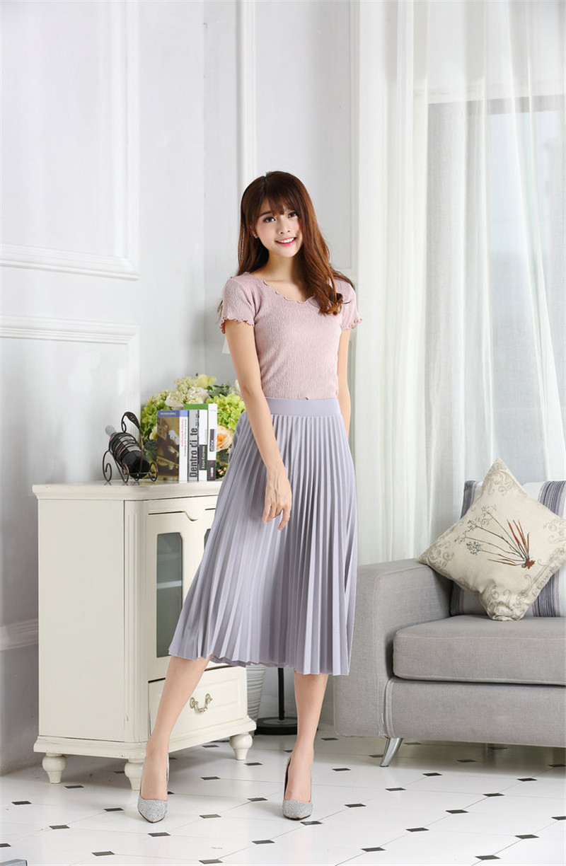 CRRIFLZ 19 Spring Autumn Fashion Women's High Waist Pleated Solid Color Half Length Elastic Skirt Promotions Lady Black Pink 5
