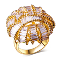 Pretty Fashion jewelry big Rings gold plated w/ cubic zircon finger Ring high quality party rings for women free shipment