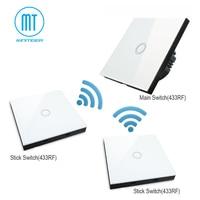 Free Shipping,MiniTiger EU standard 1 gang 3 Way Touch Switch Wireless Remote RF 433Mhz Wall Light Glass Panel