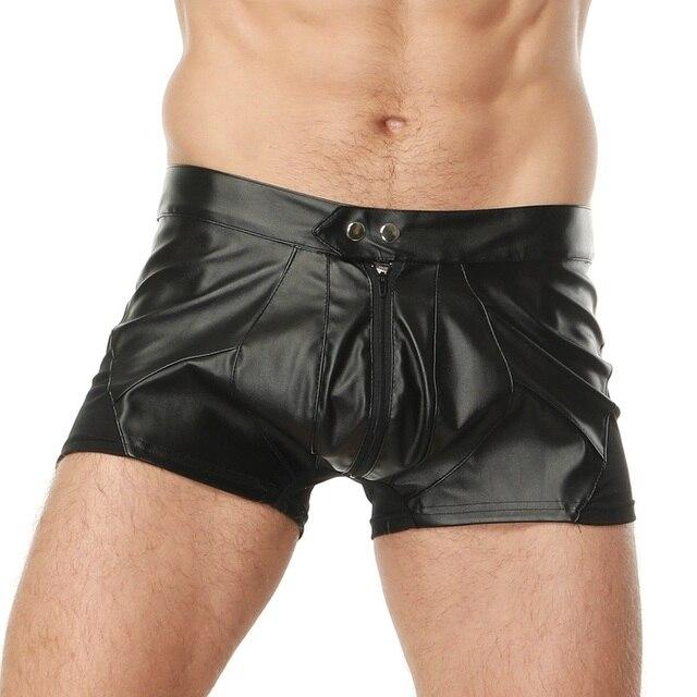 Plus la Taille Sexy En Cuir Hommes Boxer Lingerie Homme Gay Jockstrap  Exotique Mâle Noir Avant 135c500d161