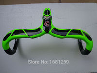Newest Customized Road Bike 3K Full Carbon Bicycle Handlebar And Stem Integrated With Stent Hole Fluorescent