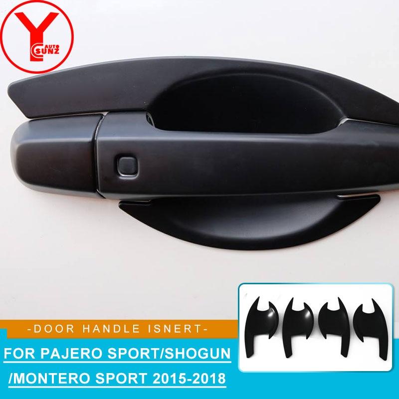 Black Door Handle Bowl Cover For MITSUBISHI PAJERO SPORT Shogun 2016 2017 2018 ABS Car Part Accessories For Montero Sport YCSUNZ
