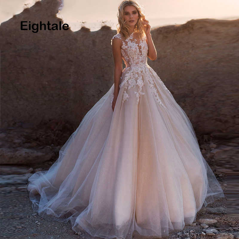 Eightale Boho Wedding Dresses Princess Scoop Illusion Lace Applique A Line Sleeveless Tulle Dress Bridal Gown with Back Buttons