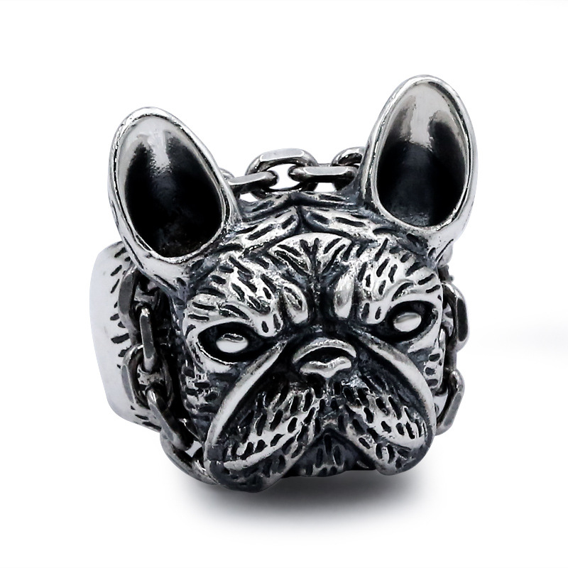 S925 silver jewelry personality male tiger dog retro silver ring finger ring opening trendsetter floral personality rotating silver index finger ring s925 silver turning ring