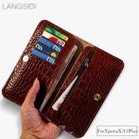 Wangcangli brand genuine calf leather phone case crocodile texture flip multi function phone bag For Sony XA1 Plus hand made