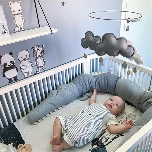 185cm Newborn Baby Bed Bumper Children Crocodile Pillow Bumper Infant Crib Fence Cotton Cushion Kids Room Bedding Decoration