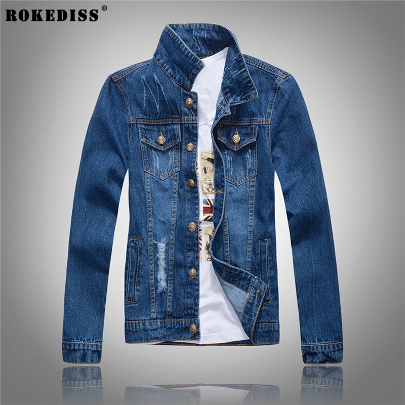 ROKEDISS 2017 new classic denim jacket men brand clothing 100% cotton casual men jean jacket dark blue solid coat male W069 new hole blue jeans men 2016 fashion brand clothing casual jeans male fit jean for men cotton elastic denim pants c029 page 7