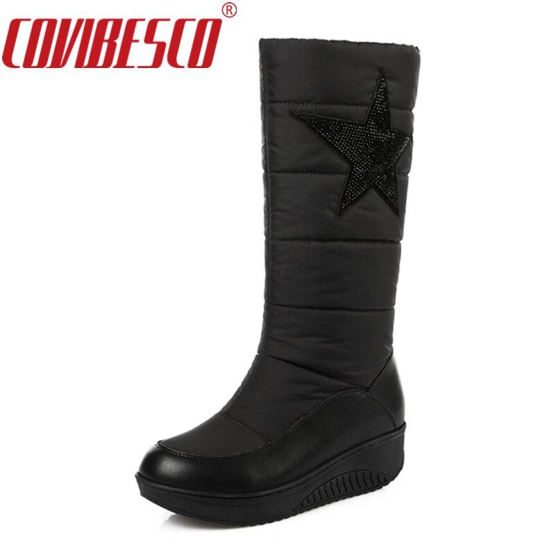 COVIBESCO Women Genuine Leather Snow Boots High Quality Keep Warm Down Winter Boots Platforms Rhinestone Fashion Shoes