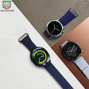 Kayış için 2 spor deri döngü manyetik bilezik 20-22mm İzle Band Samsung dişli S3 dişli spor S2 klasik bant