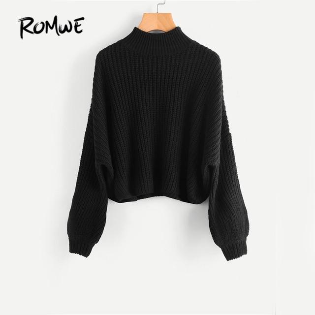 ROMWE Drop Shoulder Black Sweater Loose Pullovers Bishop Sleeve ...