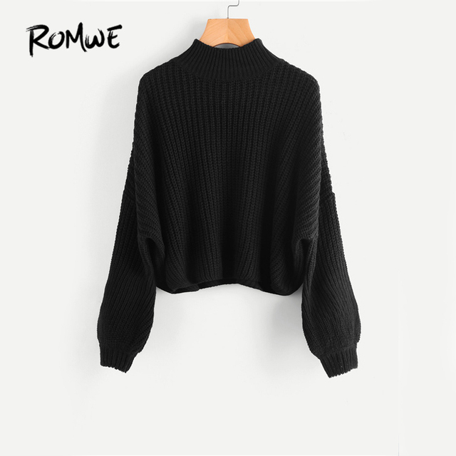 83058a7a9e6 ROMWE Drop Shoulder Black Sweater Loose Pullovers Bishop Sleeve Women Turtleneck  Sweaters Fall 2019 Fashion Casual Basic Sweater