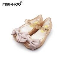 2017 Mini Melissa Gadis Jelly Sandal Kain Busur Anti Slip Anak-anak Sandal Busur Sandal Sepatu Jelly Putri Melissa 15-17 CM