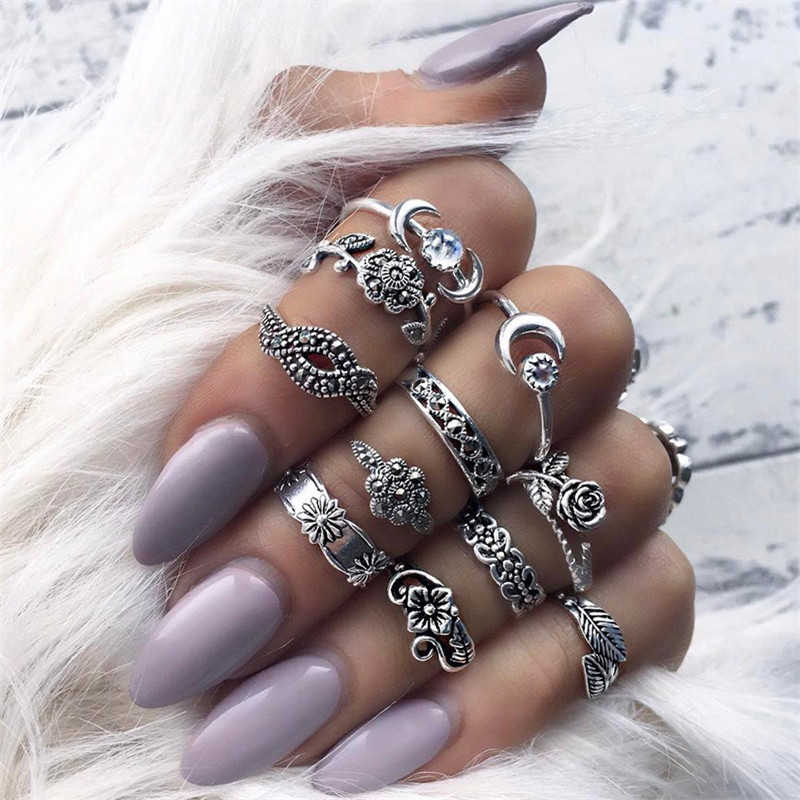 High Grade Retro Antique Gold Silver Vintage Alloy Rhinestone Ring For Women Carved Finger Jewelry 11pcs