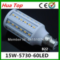 Free shipping 20pcs B22 15W 5630 5730 SMD 60 110V high power LED corn bulb Maize Lamp SMD light LED spotlight lamps and lanterns