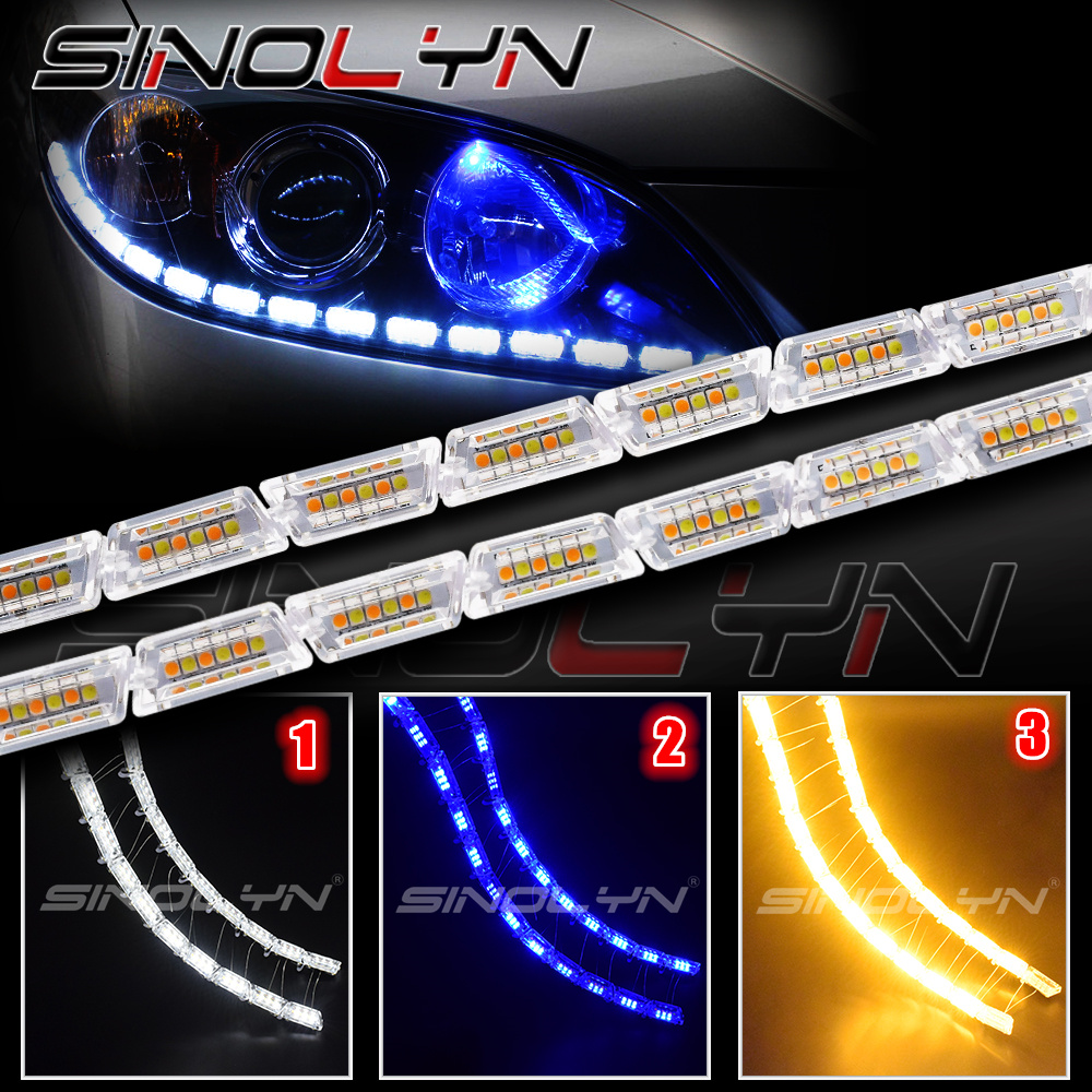 Led Lights For Cars >> Us 38 99 35 Off Auto Led Light Running Lights Cars Drl Headlight Liner Strip Switch Back Sequential Amber Turn Signal Lamps White Blue Yellow In Car
