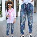 Meninas grandes Calças De Brim de Graffiti Calças Soltas Para Meninas Roupas de Cintura Elástica crianças Denim Calças 7 9 11 13 15 Anos de Roupas Adolescentes