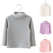 Baby Girls Long Sleeved High Neck T-shirt Basic Cotton Winter Autumn Tops YJS Dropship