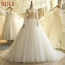 SL 519 encantador laço do vintage vestido de casamento pérolas manga longa vestidos de noiva 2018