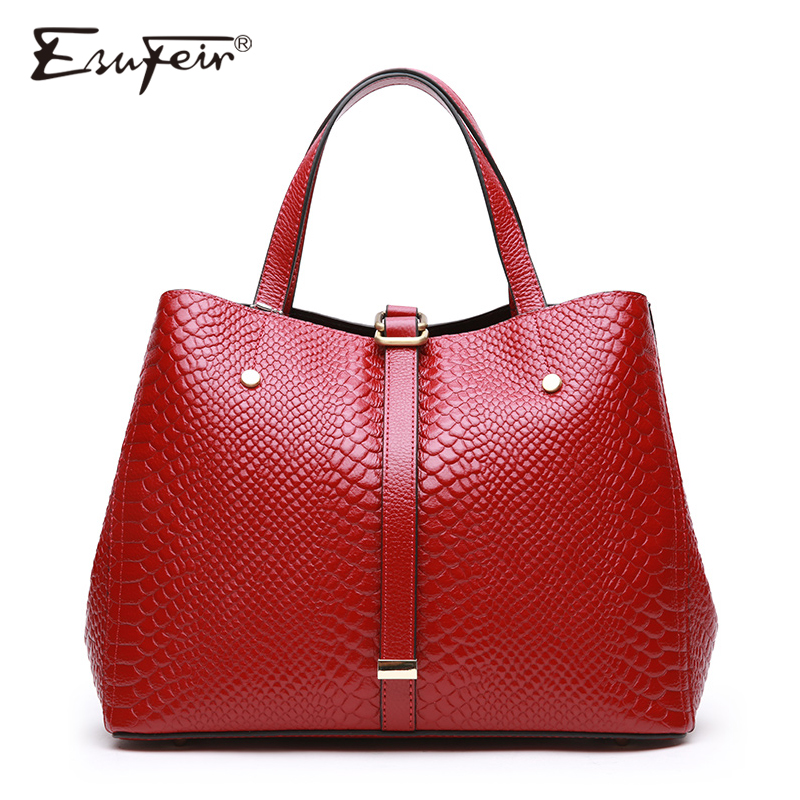ESUFEIR Women Handbag Genuine Leather Serpentine Shoulder Bag Famous Brand Design Women Bags Fashion Crossbody Bag For Women esufeir brand genuine leather women handbag fashion designer serpentine cowhide shoulder bag women crossbody bag ladies tote bag