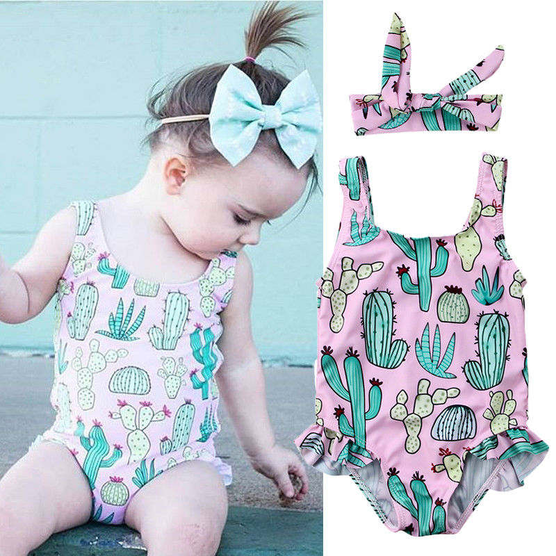 Newborn Baby Girl Swimwear One-piece Cactus Pattern Summer Swimsuit +Headbands Bodysuits Jumpsuits 2018 Summer New mixed pattern swimsuit
