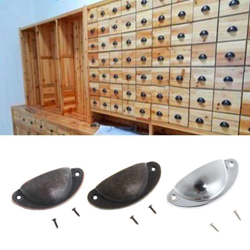81x35 مللي متر العتيقة خزانة دولاب مقبض كأس درج الأثاث المطبخ الباب قذيفة مقبض سحب 1 قطعة 2 مسامير