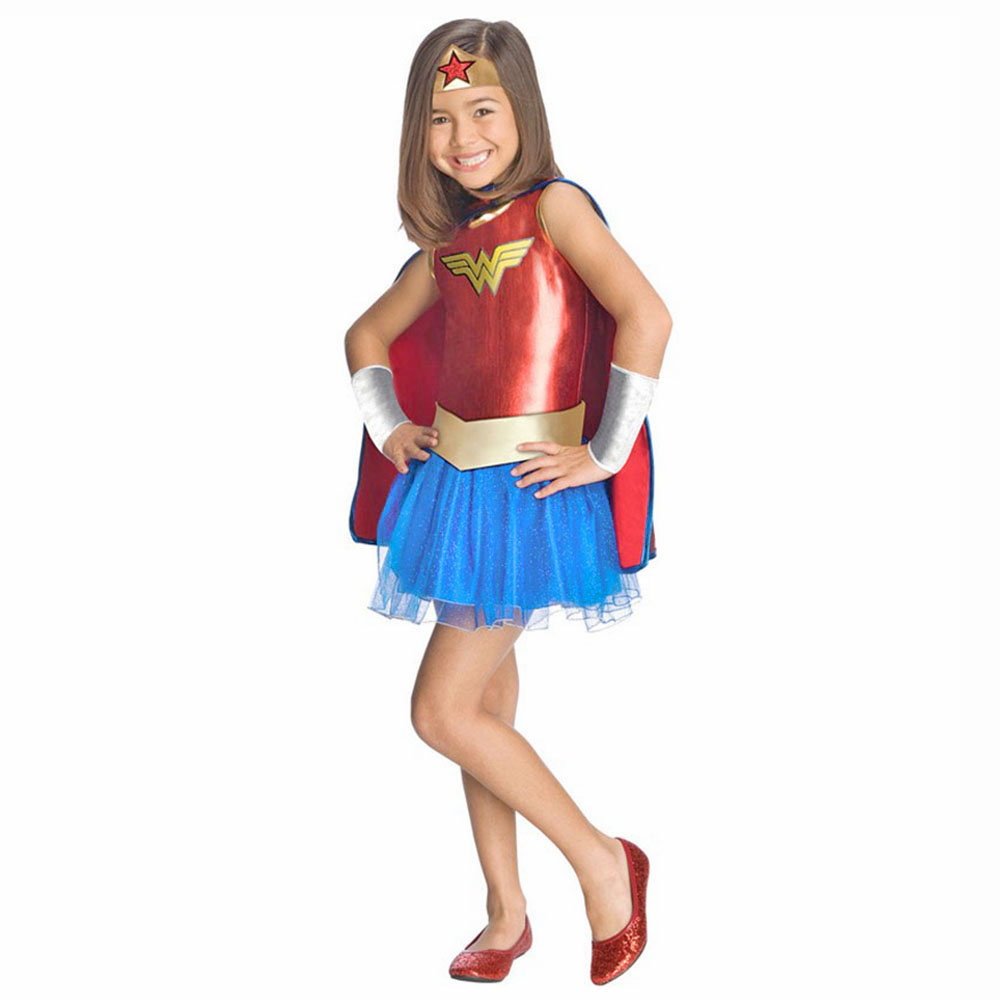 Deluxe Child Wonder Woman Tutu Dress Outfit Toddler Girls DC Superhero Fancy Dress With Cloak Halloween
