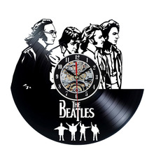 2017 Hot Cool CD Vinyl Record Wall Clock Classic Design THE BEATLES Theme Art Watch  Classic Clock Relogio Parede