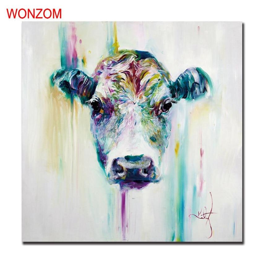 Image de la vache De Peinture Abstraite Moderne Cuadros Decoracion