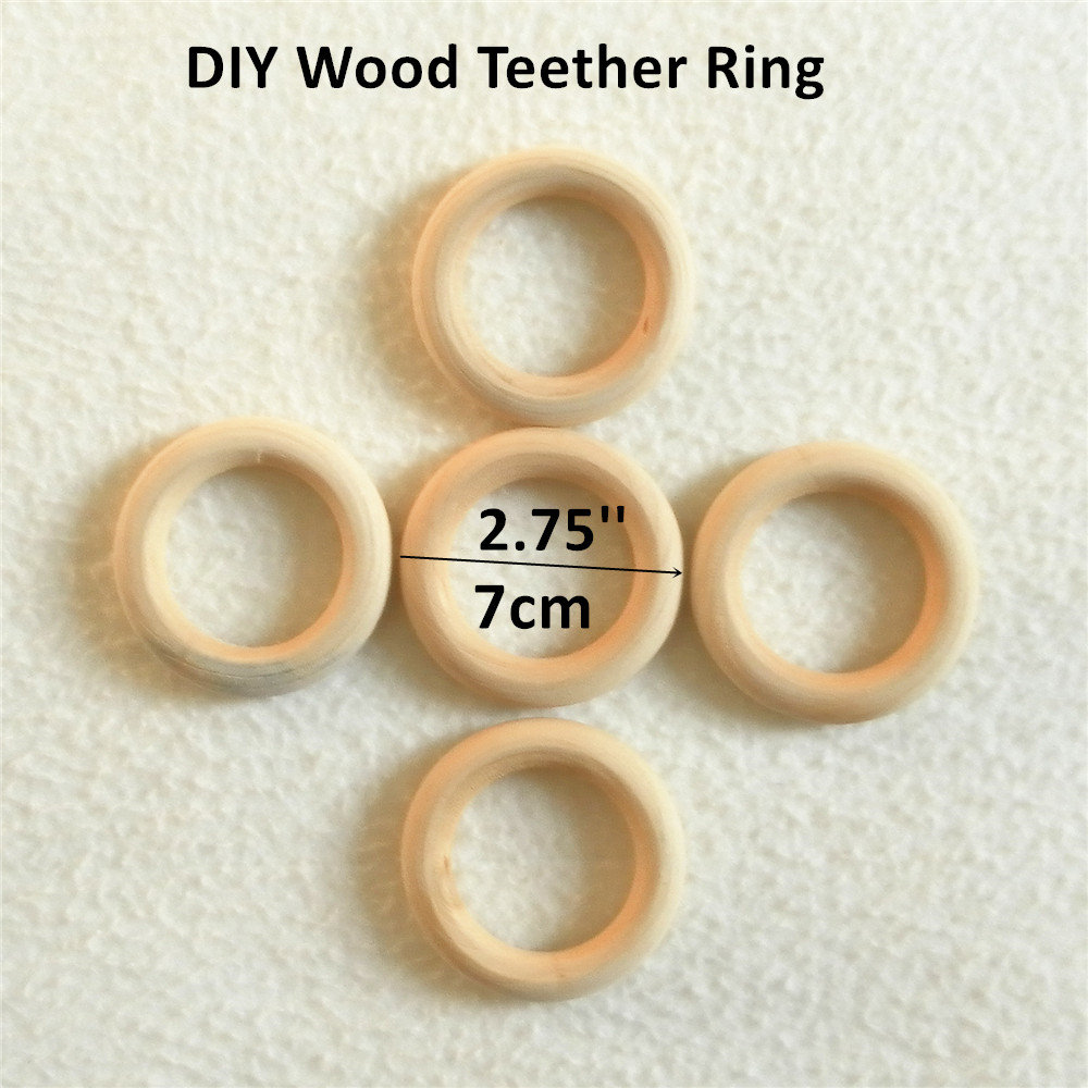 Chenkai 50pcs 70mm 2.75'' Wood Teether Ring Unfinished Nature Wooden Infant Baby Shower Pacifier Dummy Chewing Sensory Toy 7cm
