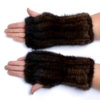冬のミンクの毛皮の手袋女性のための高リアル毛皮の手袋2017新しい女性20センチファッション本物の手袋ニットミンクの毛皮指なし