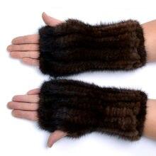 Winter mink fur gloves for women high Real Fur Gloves 2017 New Women 20CM Fashion Genuine Glove Knitted Mink Fur Fingerless